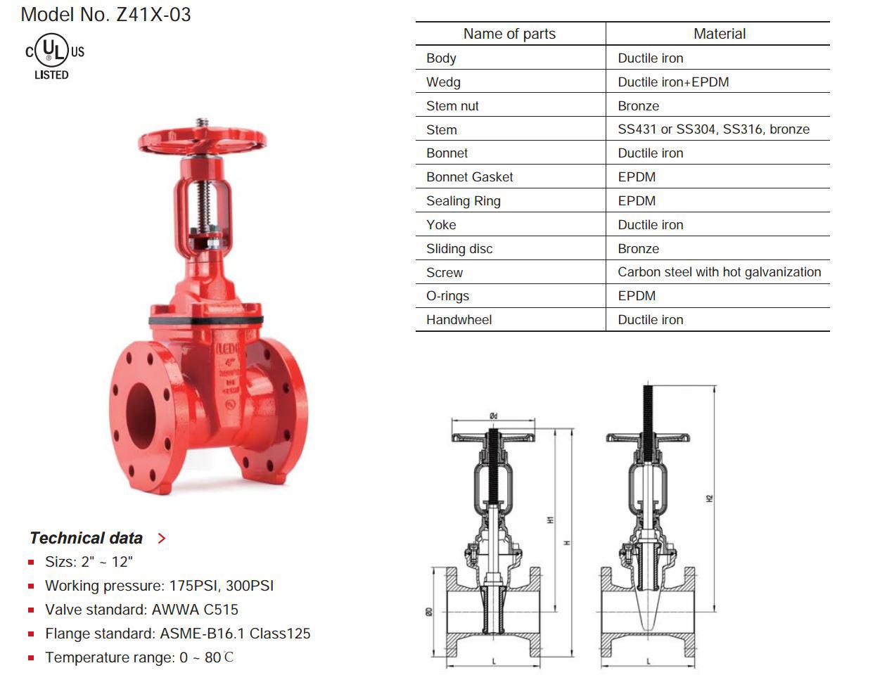 Valvesfiregateosyflanged lede interprise din f4 resilient seated osy gate valve flange end model no z41x 01 pooptronica Images
