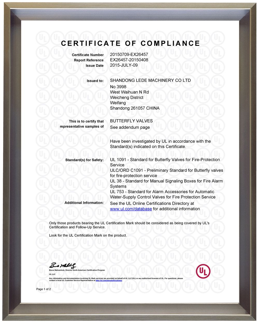UL and CUL Sertificate (BUTTERFLY VALVES) 1