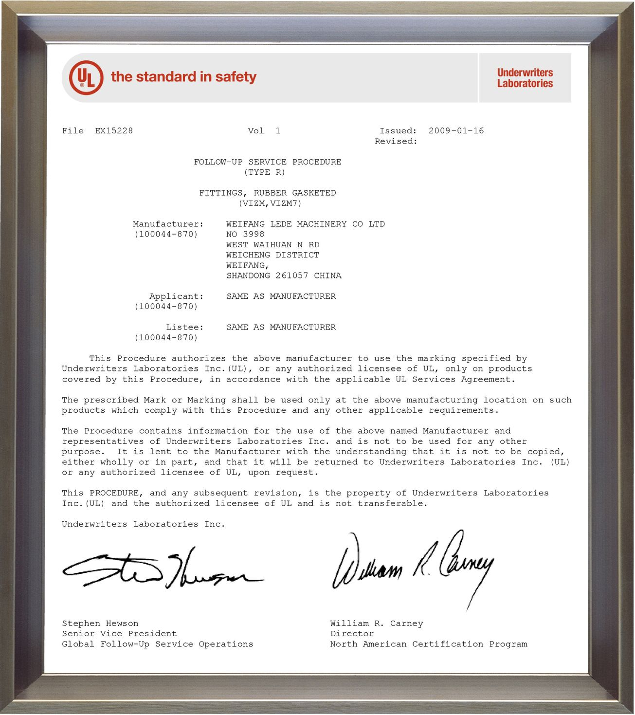 UL sertificate (Fittings, Rubber gasketed)